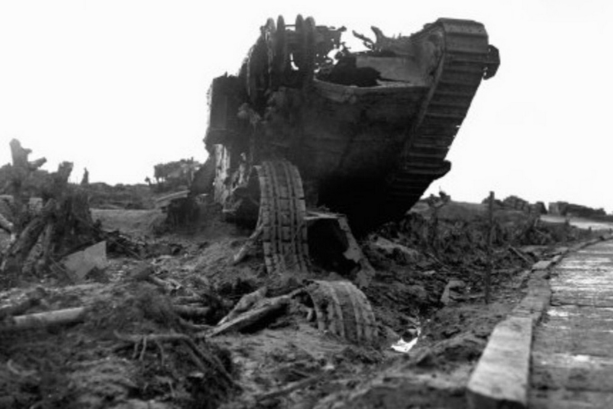 Destroyed tank next to a Plank Road