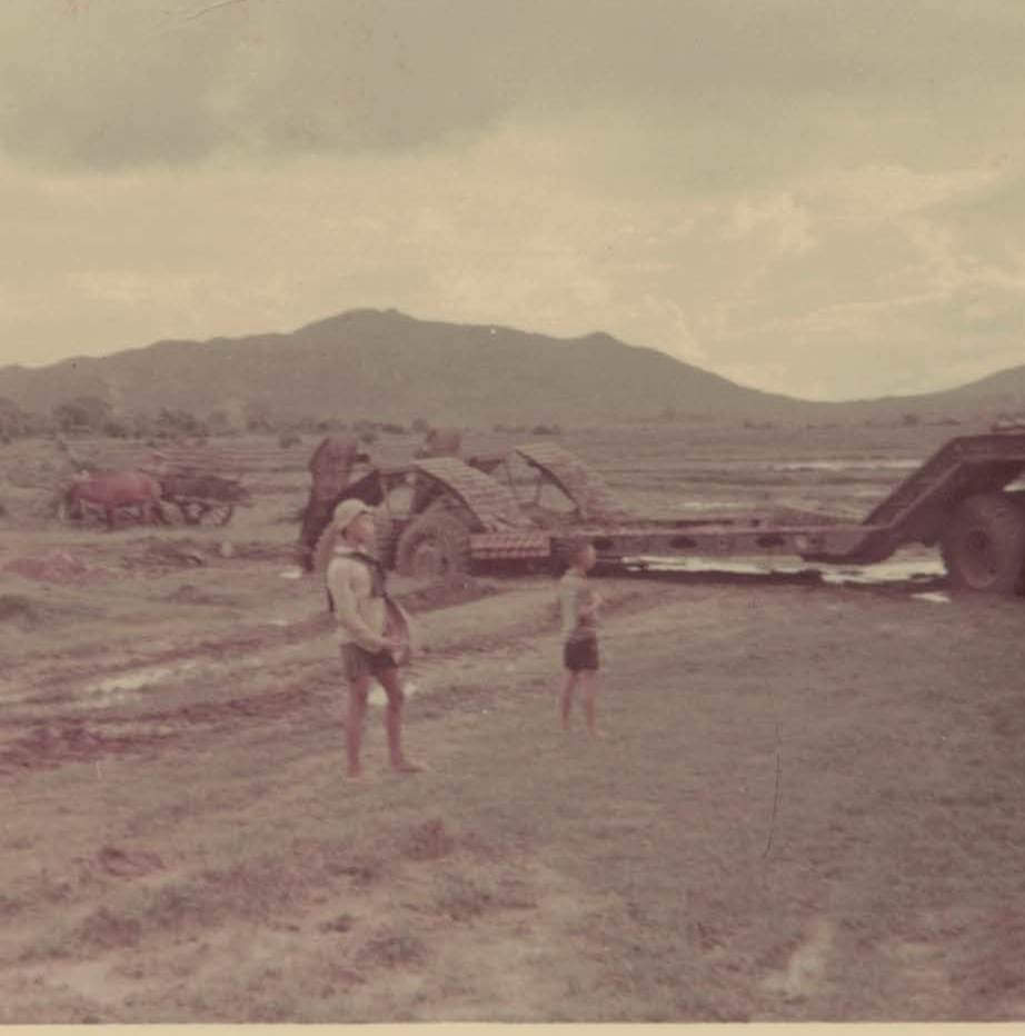 A very bogged 40 ton low loader at Phu My 1969.  This vehicle would transport our heavy plant (D8 dozers) to wherever they were needed.  It is a 1 FD SQN vehicle.