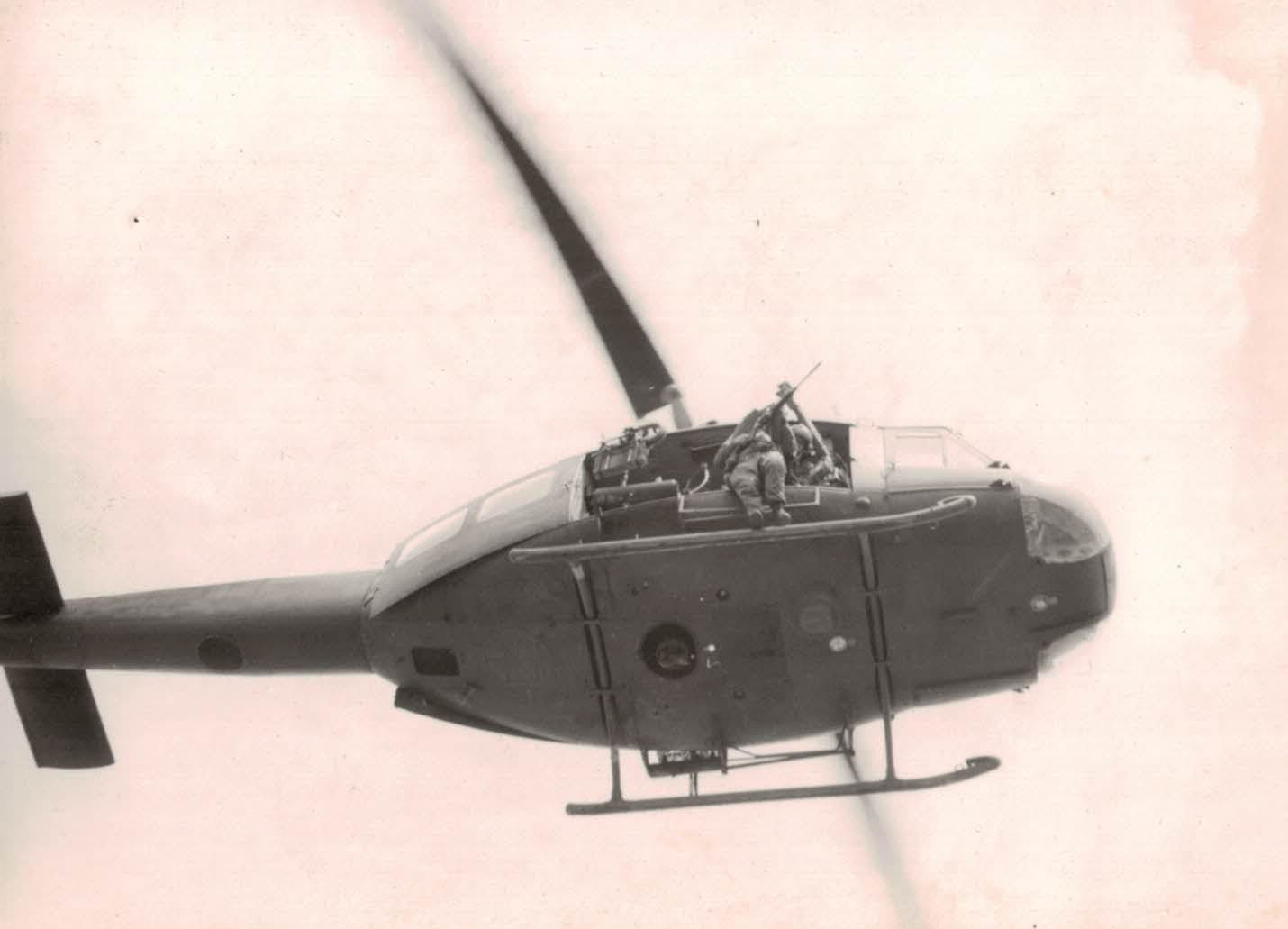 An Iroquois helicopter participating in practice of medical evacuation (Dustoff).  This happened on the SQN helipad.