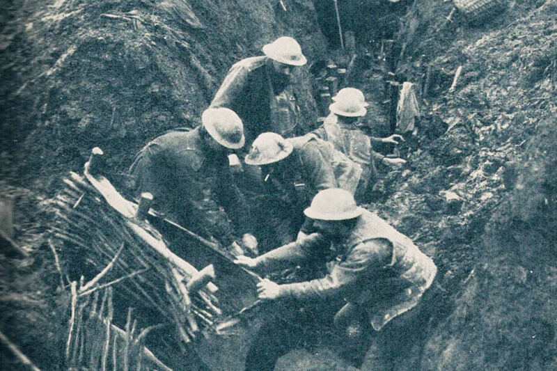 Sappers reinforcing trenches on West Front WW1.